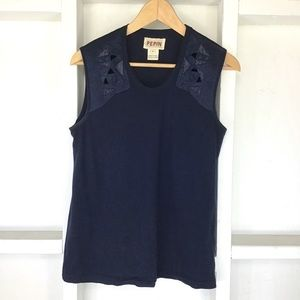 Anthropologie PEPIN Embroidered Beaded Tank Top M